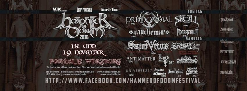 Hammer Of Doom XIII (auch Sa.): Uli Jon Roth, Trouble (USA), Antimatter (UK), Orodruin (USA), Crestfallen Queen